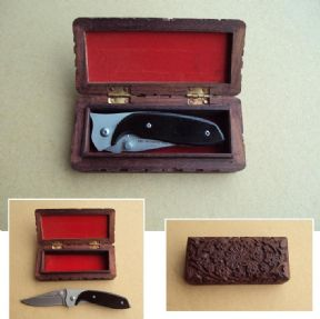 TOM ANDERSON 19cm POCKET KNIFE & HARDWOOD CASE